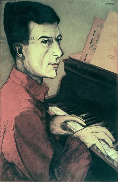 Portrait of Maurice Ravel playing the piano, 1911