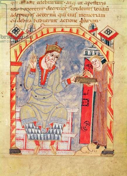 Dedication to Charles the Bald, from 'La Vie de St. Amand' (vellum)
