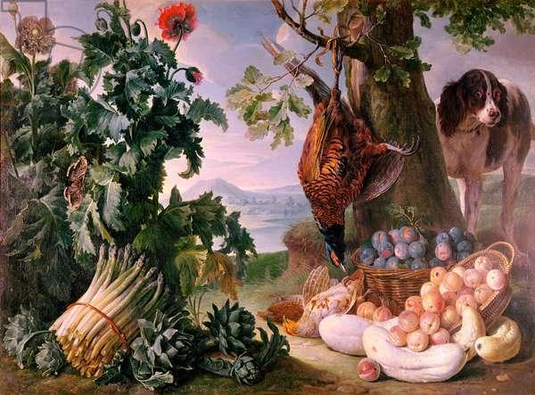 Still Life with Asparagus (oil on canvas)