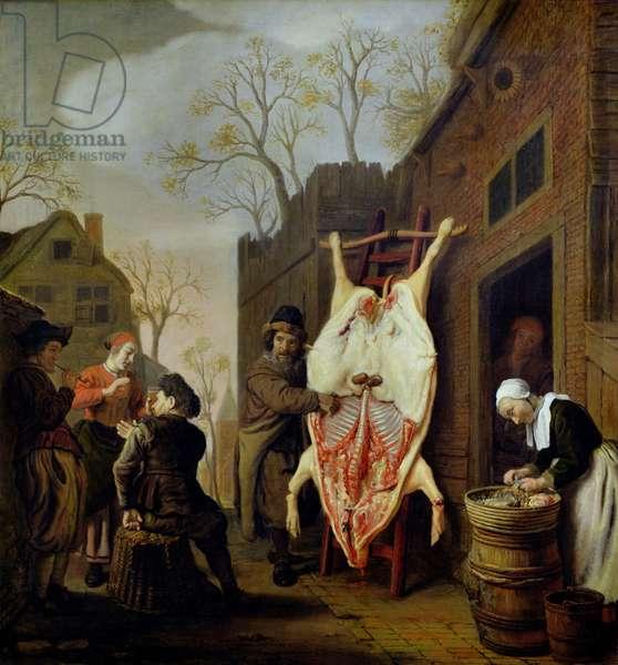The Butcher's Shop (oil on canvas)