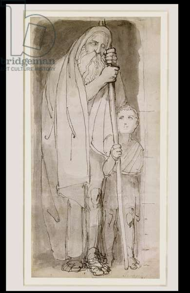 The Blind Tiresias and a Boy (pen & ink and wash over pencil on paper)