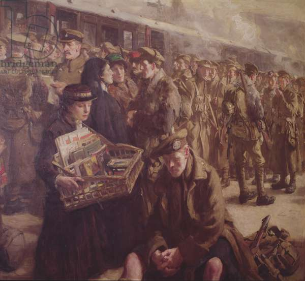 Return to the Front: Victoria Railway Station 1917 (oil on canvas) (detail of 237394)
