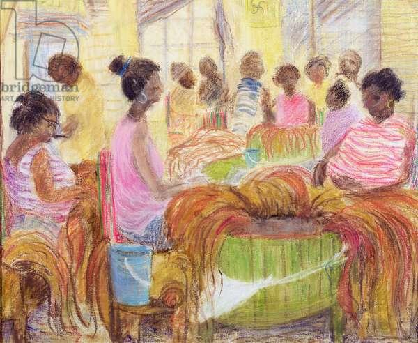 Cigar Factory, Havana (oil & pastel on canvas)