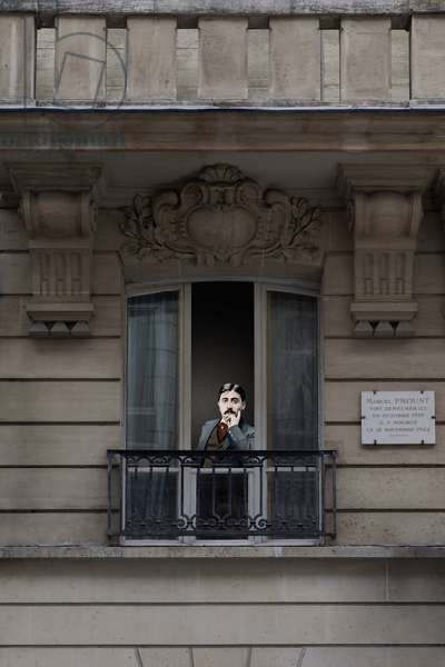 Serie Inside life, Writers in their window, Marcel Proust (1871-1922), 44 rue de l'Amiral Hamelin in the 16th arrondissement in Paris. Photomontage, KIM Youngtae. Careful! Image cannot be cropped without permission request