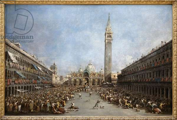 The Doge of Venice carries by the gondoliers after his election to St. Mark's Square (San Marco) (view of the Basilica of St. Mark and the bell tower), Oil Painting by Francesco Guardi (1712-1792). Photography, KIM Youngtae, Grenoble, Musee de Grenoble.