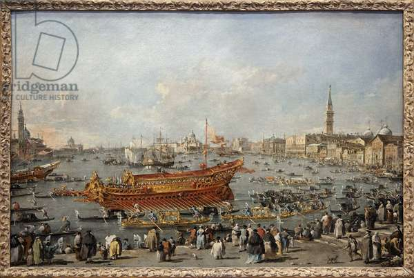 The start of the Bucentaurus (Bucentoro) towards the Lido of Venice on Ascension Day, the Doge participates in the major event of the Ascension celebrations, the wedding of Venice with the Adriatic commemorating the conquest of Dalmatia in the 14th century. Painting by Francesco Guardi (1712-1793). Photography, KIM Youngtae, Paris, Musee du Louvre.