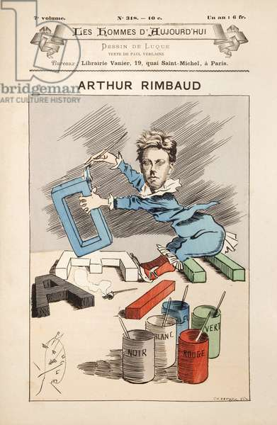 Illustration with the effigy of the poet Arthur Rimbaud (1854-1891), in Les hommes d'aujourd'hui, janvier, 1888. Photography, KIM Youngtae.