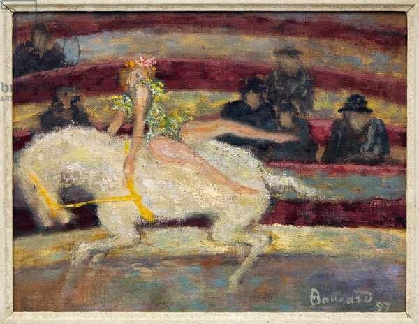 L'Ecuyere, scene of a circus equestrian show, Oil painting on canvas by Pierre Bonnard (1867-1947), 1897. Dim.: 25x35 cm. Photography, KIM Youngtae, Aix les Bains, Faure Museum.
