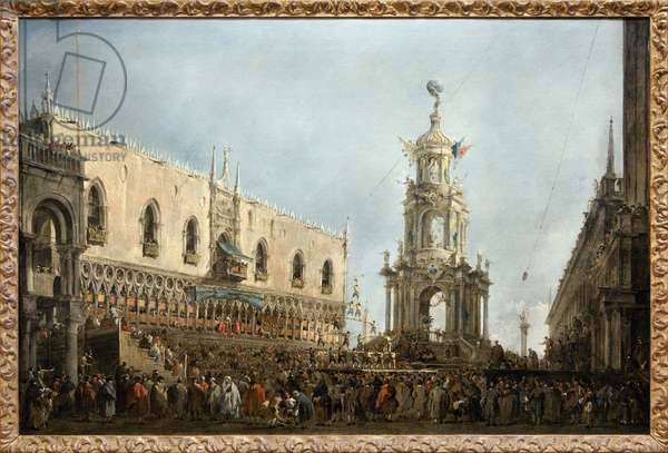 The Doge of Venice attends the feasts of Thursday Gras on Piazzetta di San Marco, the Doge is on the left, under the central arcade of the Doge's Palace, next to an ephemere monument erected on the Piazzetta, stands a human pyramid from a gymnastic competition, Painting by Francesco Guardi (1712-1793). Photography, KIM Youngtae, Paris, Musee du Louvre.