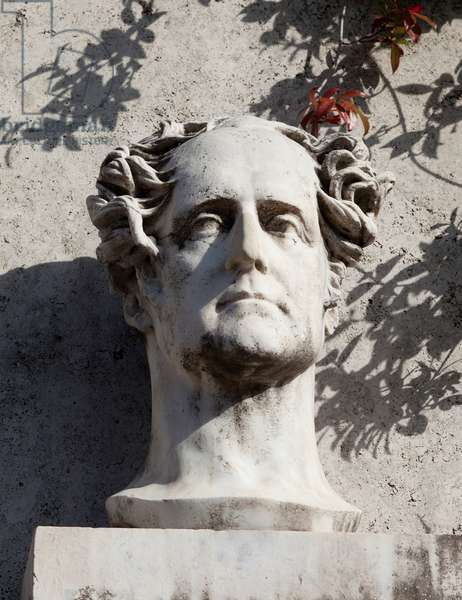 Bust of Francois Rene de Chateaubriand (1768-1848), Viscount of Chateaubriand, writer, French politician, precursor of the romanticism of French literature, ambassador of Rome from 1828 to 1829, Sculpture of Paul Landowski (1875-1961) after David d'Angers (1788-1856), installed near Villa Medicis in Rome.