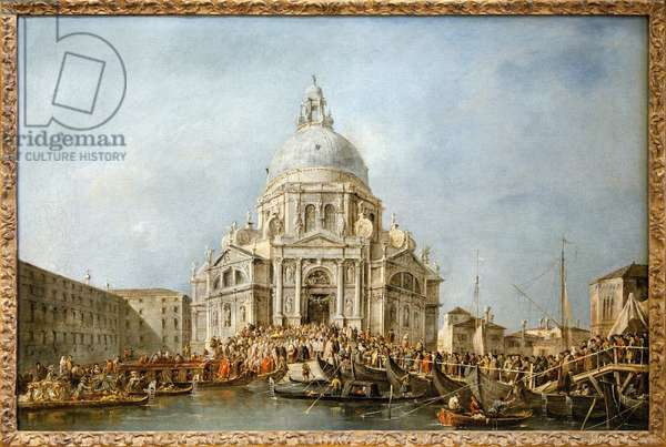 The Doge of Venice goes to the Salute of Venice, Every year on 21 November the Doge went to the Basilica of Santa Maria della Salute, edified in thanksgiving for the end of the plague of 1630, in order to thank the Virgin for this delivrance, a boat bridge allowed to cross the Grand Canal on this occasion, Painting by Francesco Guardi (1712- 1793). Photography, KIM Youngtae, Paris, Musee du Louvre.