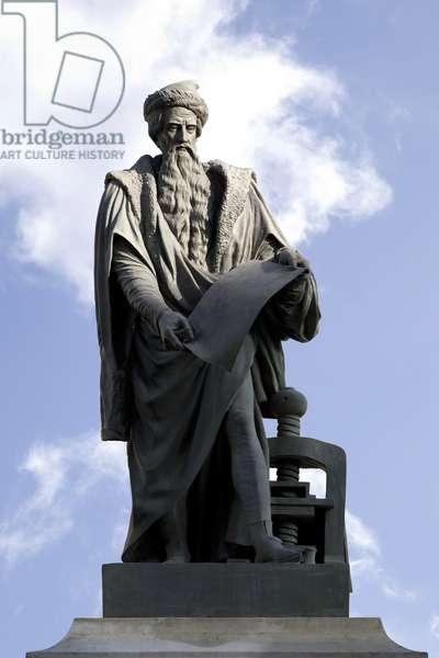 Statue of Johannes Gutenberg (1400-1468), scholar, German printer, inventor of typographic printing in Europe, Bronze sculpture by David d'Angers (1788-1856)., Paris.