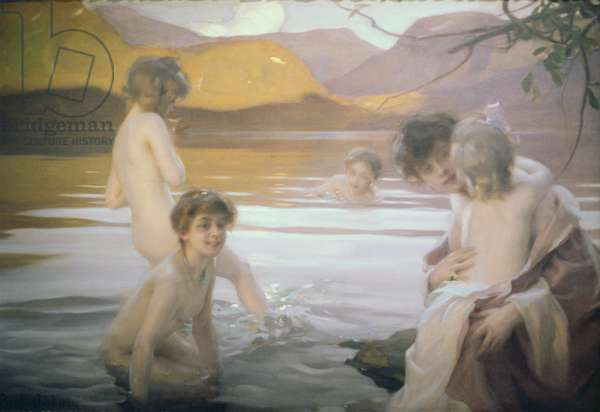 The First Bath (oil on canvas)