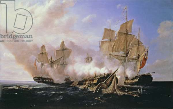 Battle Between the Frigate 'Pomone' and the English Frigates 'Alcestis and Active', 29 November 1667, 1811 (oil on canvas)