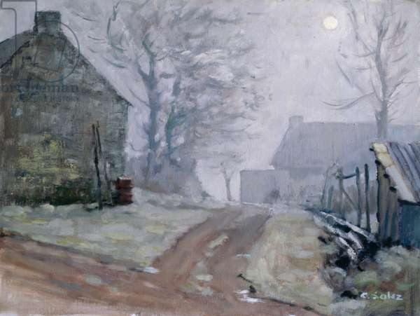 Winter in Broceliande (oil on canvas)