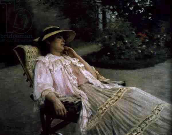 Mrs Debat-Ponsan on the Terrace at Nazelles, 1900 (oil on canvas)