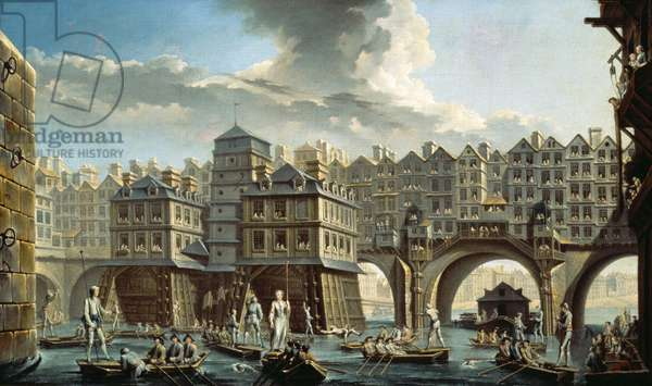 The Bargemen's Contest in front of the Pont Neuf, Paris (oil on canvas)