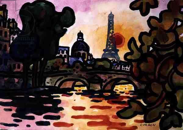 Celebration, in Paris (gouache on paper)