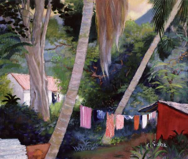 Drying Washing, Guadeloupe (oil on canvas)