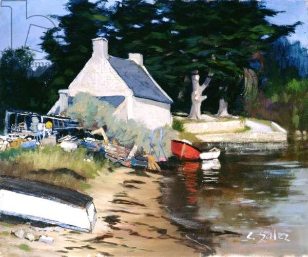 The House of Adele, Morbihan (oil on canvas)