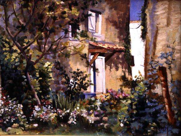 Flowering Courtyard (oil on canvas)