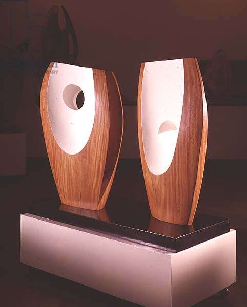 Two Forms with White by Barbara Hepworth (1903-75), 1963 (wood)