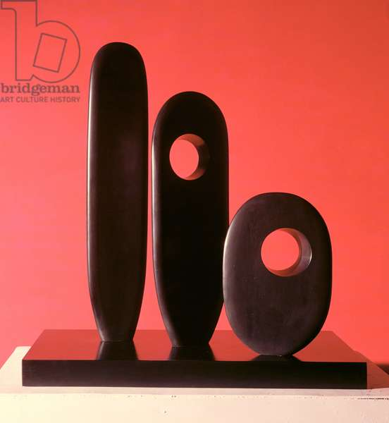 Three Standing Forms by Barbara Hepworth (1903-75), 1964 (black marble)
