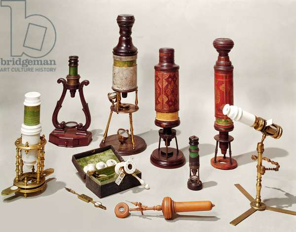 Selection of Microscopes from the late 17th and early 18th century