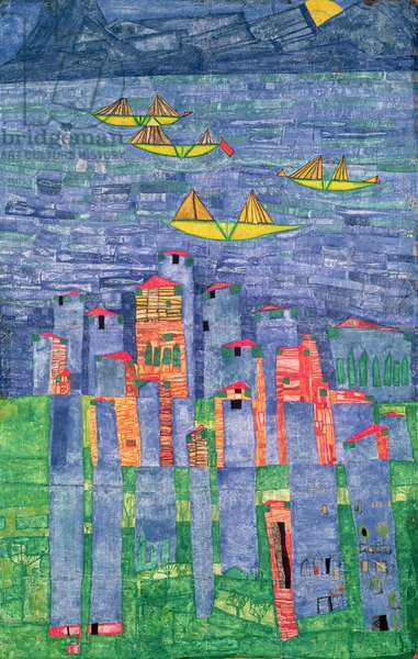 Yellow Ships, sea of Tunis and Taormina, 1951 (w/c on paper)