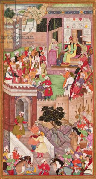 The infant is presented to Humayan at Kabul, from the 'Akbarnama', Mughal, (illustrated text)