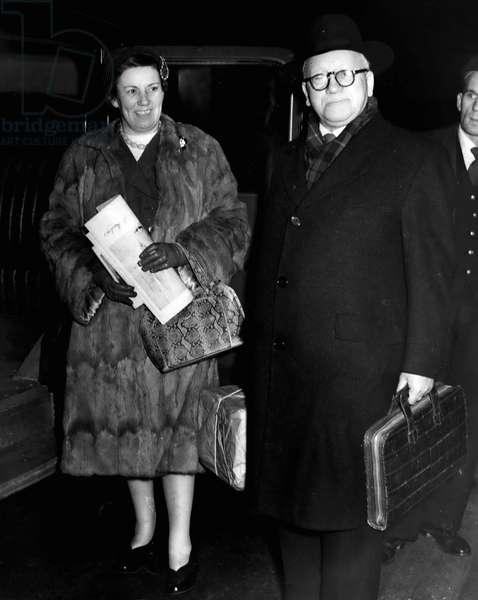 Jan. 01, 1955 - Mr. And Mrs. Herbert Morrison arrives in London. Mr. And Mrs. Herbert Morrison, who were married last week in Rochadle, photographed last night on their arrival in London