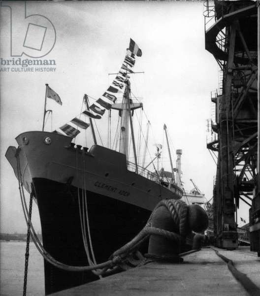 """Aug. 17, 1954 - Ship"""" Clement -Ader"""" at Bordeaux dockside for launch ceremony"""
