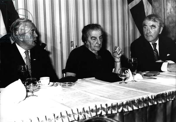 Nov. 11, 1974 - Golda Meir (Meirson, Meyerson, born Golda Mabovitch) (1898-1978), Harold Wilson, Britain's Prime Minister and Joe Gormley, the miners president attended a dinner given by the Labour Friends of Israel at the Churchill Hotel in London