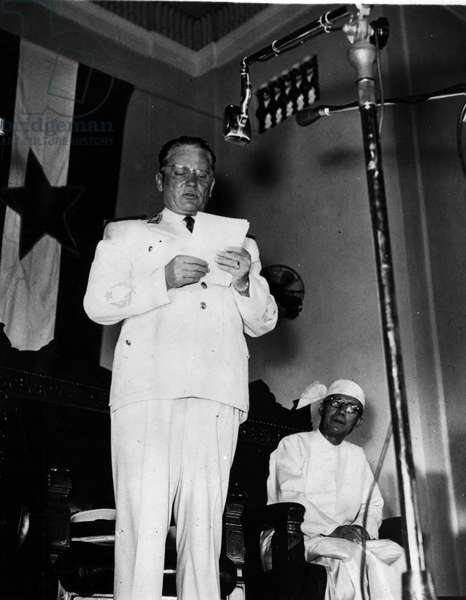 Jan. 01, 1955 - President Tito in Burma.: Marshal Tito, President of Yugoslavia, seen speaking a reception given by the Mayor of Rangoon, after the President's arrival for an 11-day goodwill visit. Burma's President, Dr. BA U - is seen on right