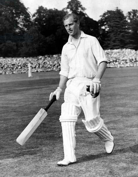 Aug. 2, 1953 - Arundel, Sussex, U.K. - PRINCE PHILIP (Philip Mountbatten) playing cricket