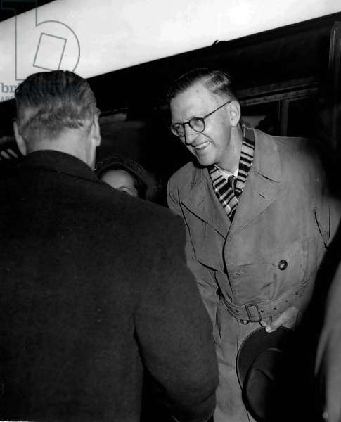 Jan. 01, 1955 - South African Minister of Justice arrives: Included in the arrivals at Waterloo Station this morning on the S.S. Bloemfontein Boat Train was Mr. Charles Robert Swart South African Minister of Justice who is feared by 8 1/2 million Africans. He was accompanied by his wife and Chief of the Special Branch Police Colonel Prinsloo. He is to attend the Commonwealth Conference as representative of Premier Stridjom
