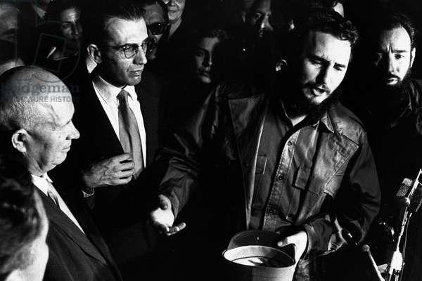 Feb. 2, 1961 - Havana, Cuba - FIDEL ALEJANDRO CASTRO RUIZ (born August 13, 1926), with NIKITA KHRUSHCHEV at the Soviet Mission to the UN