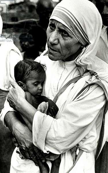 Portrait of MOTHER TERESA (1910 -1997) IN CALCUTTA (India) - 1997 (b/w photo)