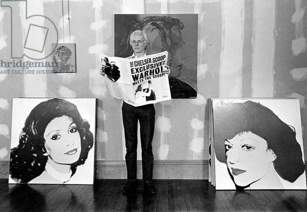 American artist Andy Warhol among his works in 1978 (b/w photo)