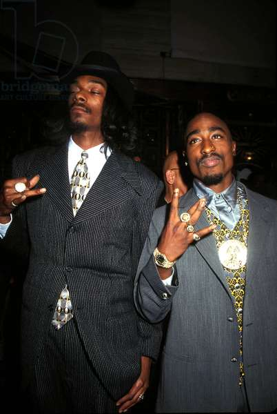 Portrait of the rapper TUPAC SHAKUR (2pac) (right) and Snoop Dogg, 4/09/1996