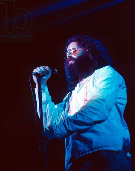 Portrait of singer Jim Morrison (The doors) on stage in July 1969