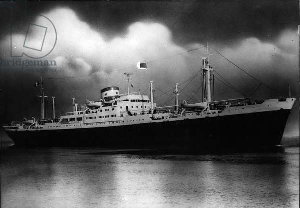 """Jun 06, 1953 - New Liner On Far Eastern Service The"""" Clement-Ader"""", the new 12,000 ton Chargeurs Reunis liner which will be put on the far Eastern service."""