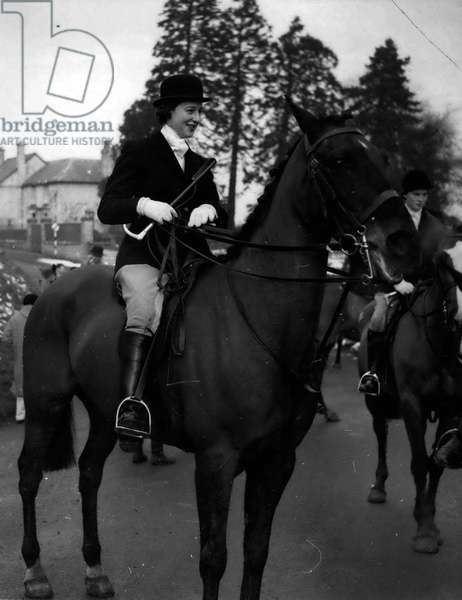 """Jan. 01, 1955 - Princess Alexandra Thrown - while out wit hthe Hunt.. Thrown over the head of """"Smokey""""; H.R.H. Princess Alexandra daughter of the Duchess of Kent was thrown from her horse while out with the Pytchley Hunt yesterday. She was riding"""" Smokey"""" across a boggy field when he stopped suddenly and the Princess was thrown over his head. She was shaken and covered in mud but continued the hunt. She attended a Private House party in the evening"""