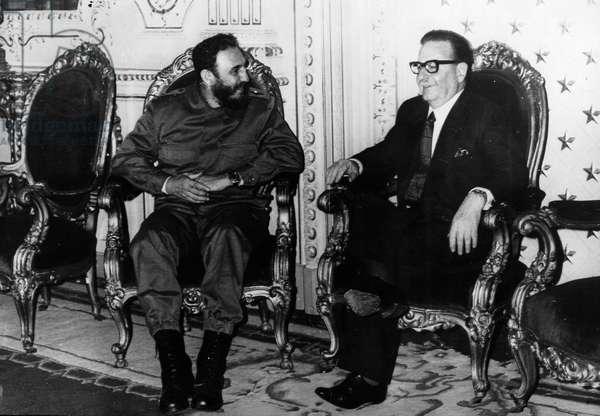 Nov 30, 1971 - Santiago, Chile - Cuban leader FIDEL CASTRO with Chilean President SALVADOR ALLENDE