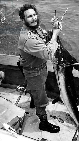Cuban head of state Fidel castro fishing in 1961