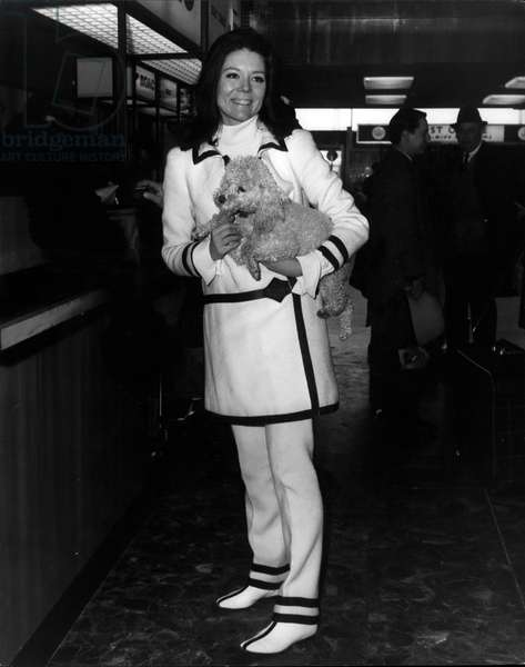 "Tue 03, 1966 - Diana Rigg wearing a chic black and white outfit seen with her pet poodle"" Poopie"" prior to her departure from London Airport today"