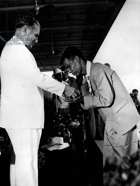 Jan. 01, 1955 - Marshal Tito on Official visit to Burma.Presents cup to race winner