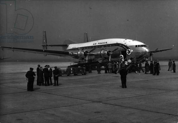 "Tue. 03, 1953 - New Plane for Paris Algiers Airline The Double deck Breguet"" Provence"" of Air France about to take off from Le Bourget Airport on its first flight to Algiers this morning."