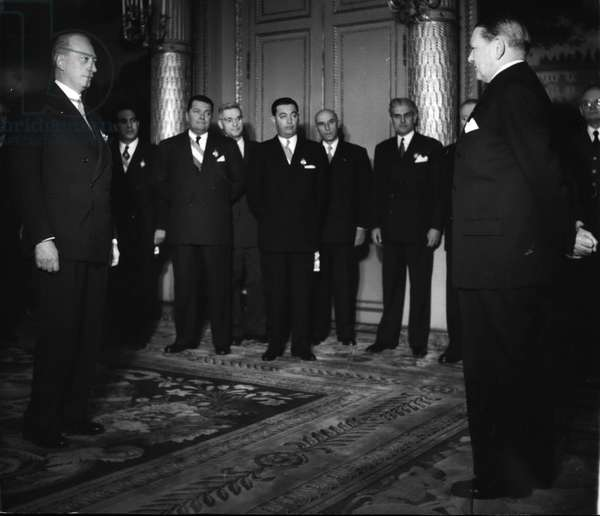 Jan. 01, 1955 - President Coty Meets New President of the French assembly: M. Schneiter (left) the newly elected President of the French Assembly, during the official visit he paid to President Coty (right) with the members of the Bureau of the assembly this morning