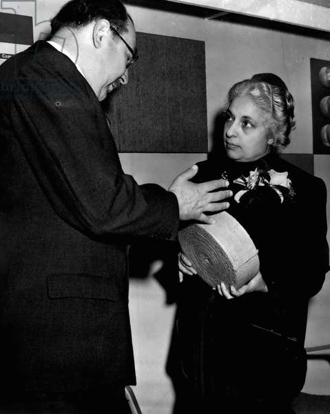 Jan. 01, 1955 - Opening of the packaging exhibition. Mrs. Pandit at Indian Jute Mills stand.: The new High Commissioner for India - Mrs. Vijaya Lakshmi Pandit, sister of the Indian Prime Minister - accompanied the Lord Privy Seal - Capt. TR. Hon. H. Crookshank M.P. when he opened the fourth National Packaging Exhibition at Olympic - this morning